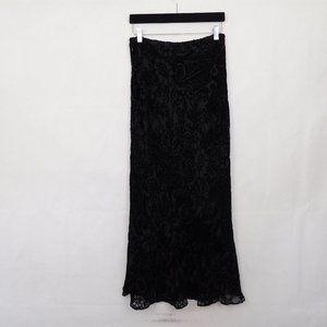 Ann Taylor Maxi Skirt Black Floral Flocked Silk